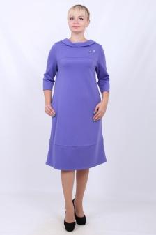 Купить прямое платье с рукавом-фонарик, т-синее